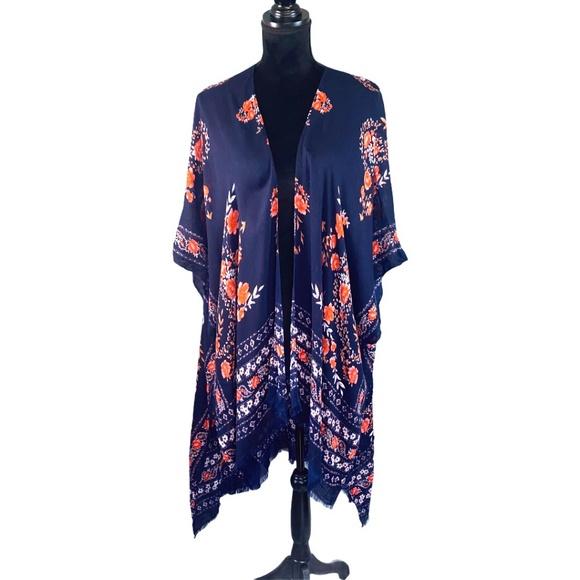 American Eagle Dk Blue Floral Print Kimono Wrap